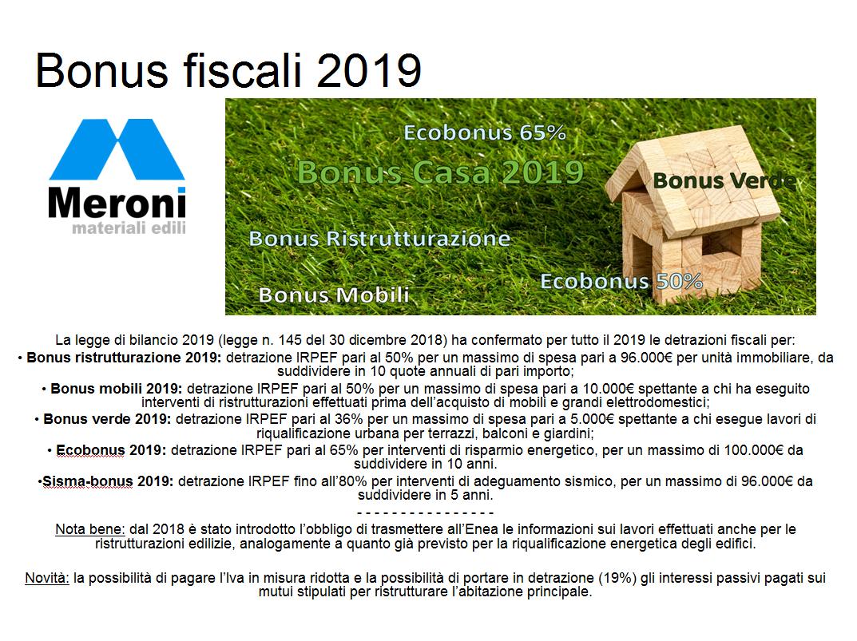 Bonus fiscali 2019